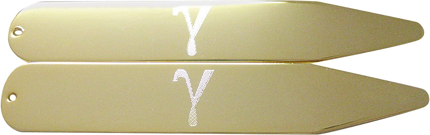 Gold Toned Etched Greek Letter Gamma Collar Stays