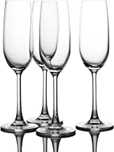 Crystal Champagne Flutes Glasses Set of 4 - Machine Made Glass (7 Ounce)