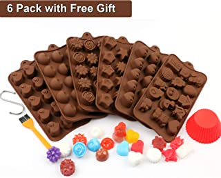 PONECA Silicone Candy Molds Chocolate Molds 6 Pack Silicone Molds For Fat Bombs Chocolate Molds Silicon Molds Candy Mold Silicon Mold Hard Candy Molds (chocolate set 1)