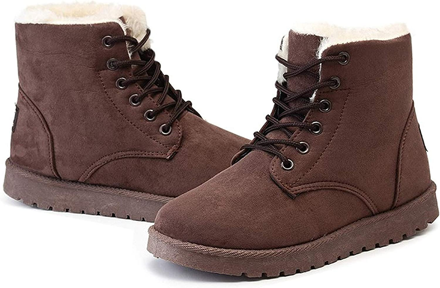 SmarketL Classic Women Winter Boots Suede Ankle Snow Female Warm Fur Plush Insole Boots,Make,Brown,