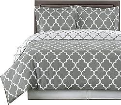 مجموعة أغطية سرير من 3 قطع من Royal Hotel باللون الرمادي والأبيض Meridian King/Cal-King مصنوعة من القطن بنسبة 100% 300 خيط