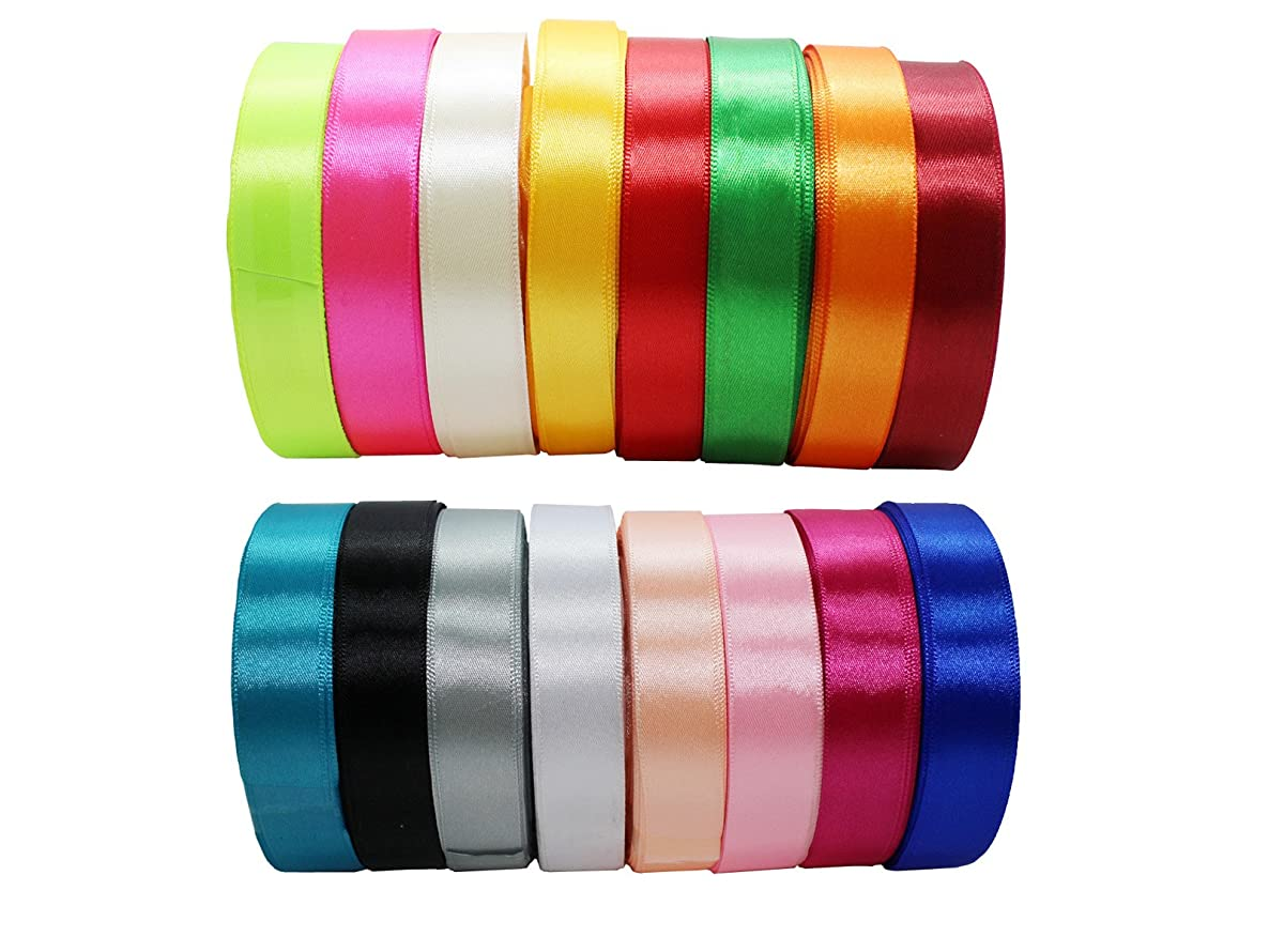 JESEP 16 Rolls 400 Yards Double Face Solid Satin Fabric Ribbon Multi-Color Packing for Gift Package Wrapping Hair Bow Clips Accessories, Crafting, Sewing, Wedding, Decorator, etc (1