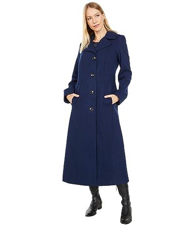 London Fog Long Wool Button Front Coat (Sapphire) Women