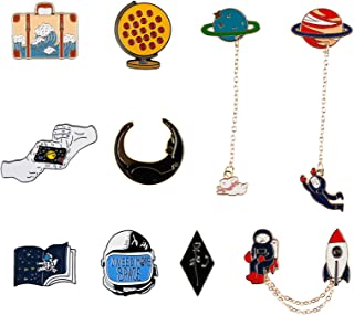 10 PCS Enamel Lapel Mysterious Universe Planet Brooches   Magic Starry Sky Earth Astronaut Pin Set for Clothes Bags Jacket...