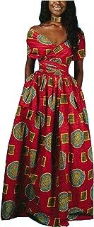 Women's Sexy Dashiki Floral Printed Side Slit Long Maxi Dresses Bohemian High Waist Vestidos