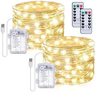 Gladpaws Fairy Lights,2 Pack Fairy String Lights 33ft 100 LED USB Plug in and Battery Operated with Remote Control Timer 8...