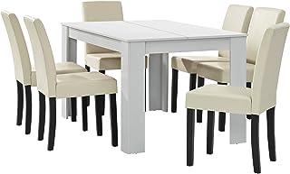 [en.casa] Table à Manger Blanc Mat avec 6 chaises crème Cuir-synthétique rembourré 140x90