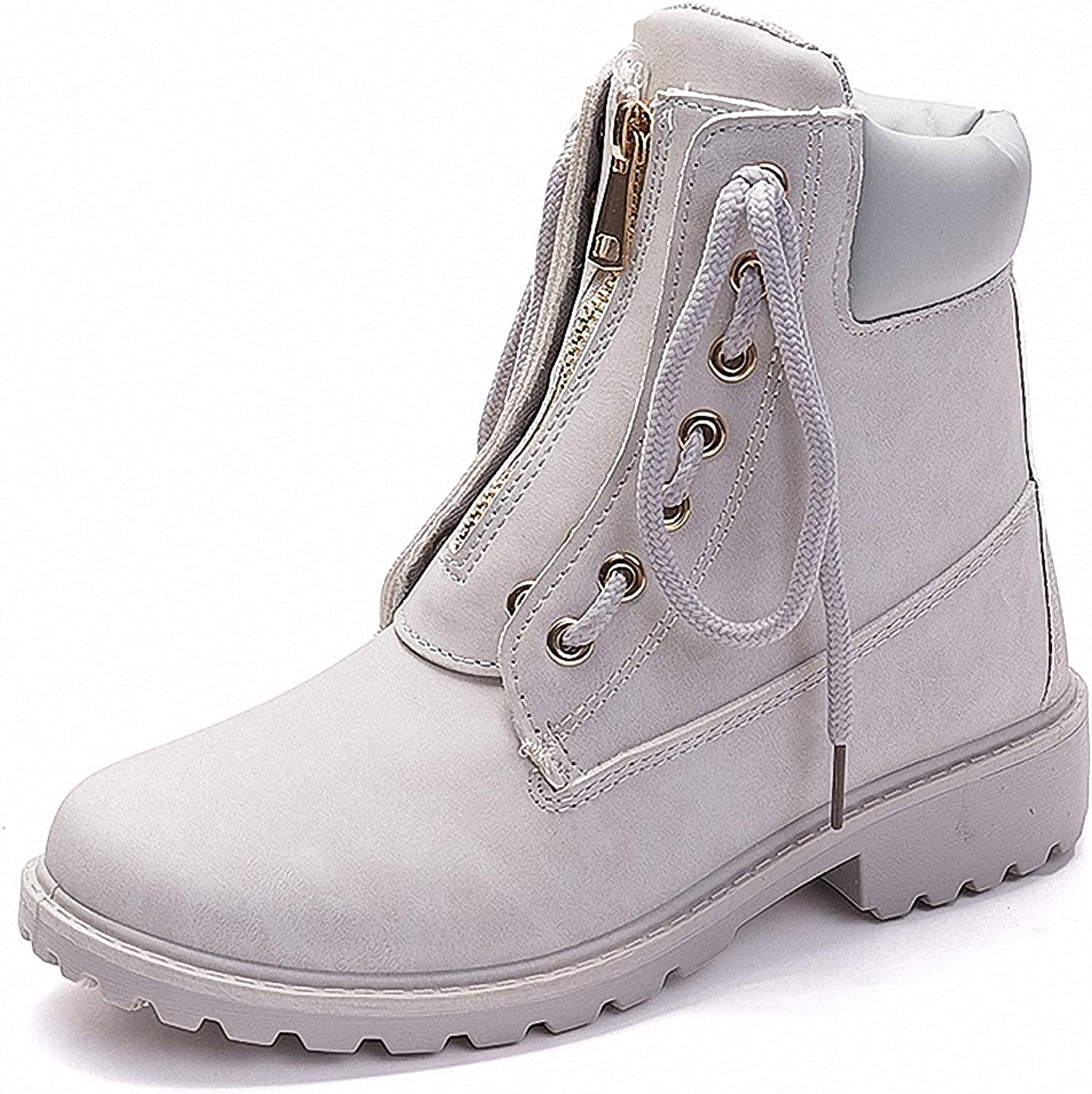 ZHENZHONG Women's Lace up Zipped Winter Ankle Boots Snow Short Combat Booties
