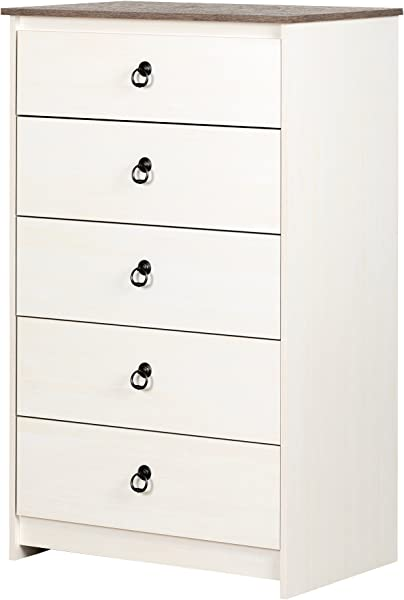 South Shore 12234 Plenny 5 Drawer Chest White Wash And Weathered Oak