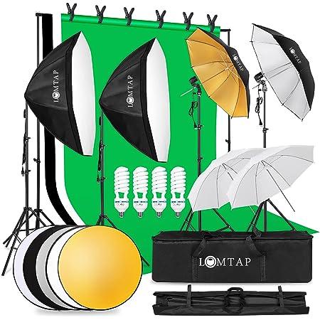 LOMTAP プロな写真撮影照明キット 60cm八角形ソフトボックス 85W 5500K電球E26 背景スタンド プロ背景布(白、黒、緑)三脚 白いソフト/傘黒銀傘 スタジオ撮影機材/照明・撮影ライト/簡易スタジオ/撮影用小道具 ポートレート写真撮影用 キャリングバッグ付き