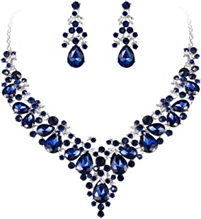 Women's Crystal Elegant Bridal Floral Cluster Teardrop Statement Necklace Earrings Set