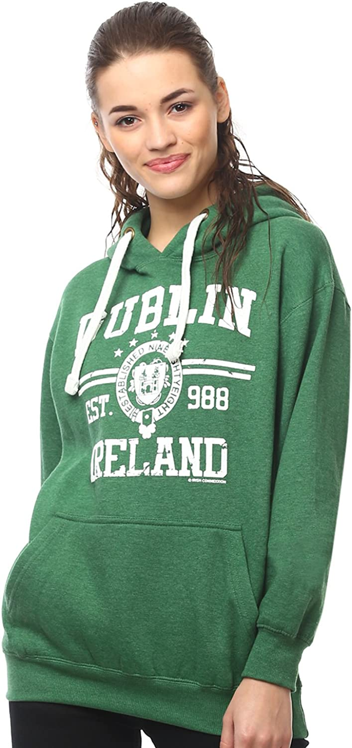 Pullover Hoodie with Dublin Max 63% OFF Ireland Print 988 Est Colour Green Elegant