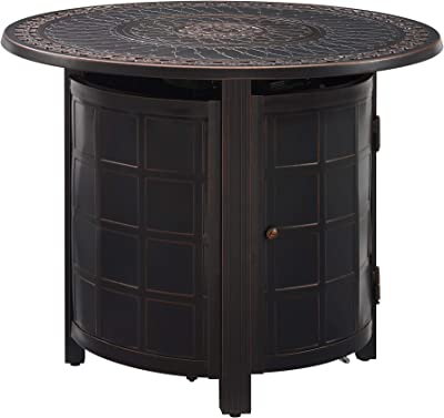 "Fire Sense Columbia 34"" Round LPG Aluminum LPG/NG Fire Pit Table 