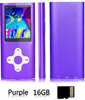 Ploveyy MP3 Player MP4 Player Including a 16GB Micro SD Card,extensible 64 GB,Mini USB Port 1.8 LCD, with Photo Viewer, E-Book Reader, Voice Recorder & FM Radio,Video/Media/Music Player Purple