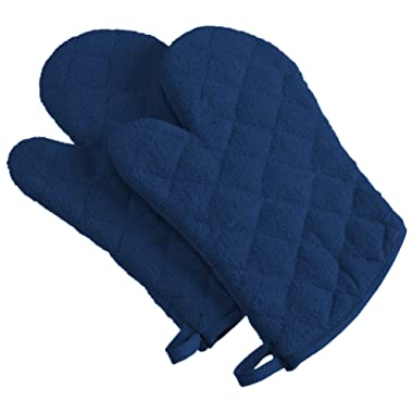 DII 100% Cotton, Quilted Terry Oven Set Machine Washable, Heat Resistant with Hanging Loop, Ovenmitt, Nautical Blue 2 Piece