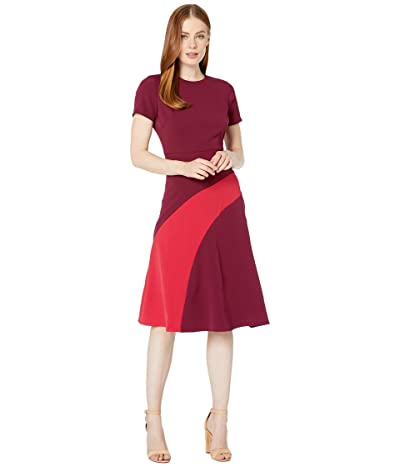 Maggy London Mystic Crepe Color Block Fit and Flare Dress (Beet/Moncheri) Women