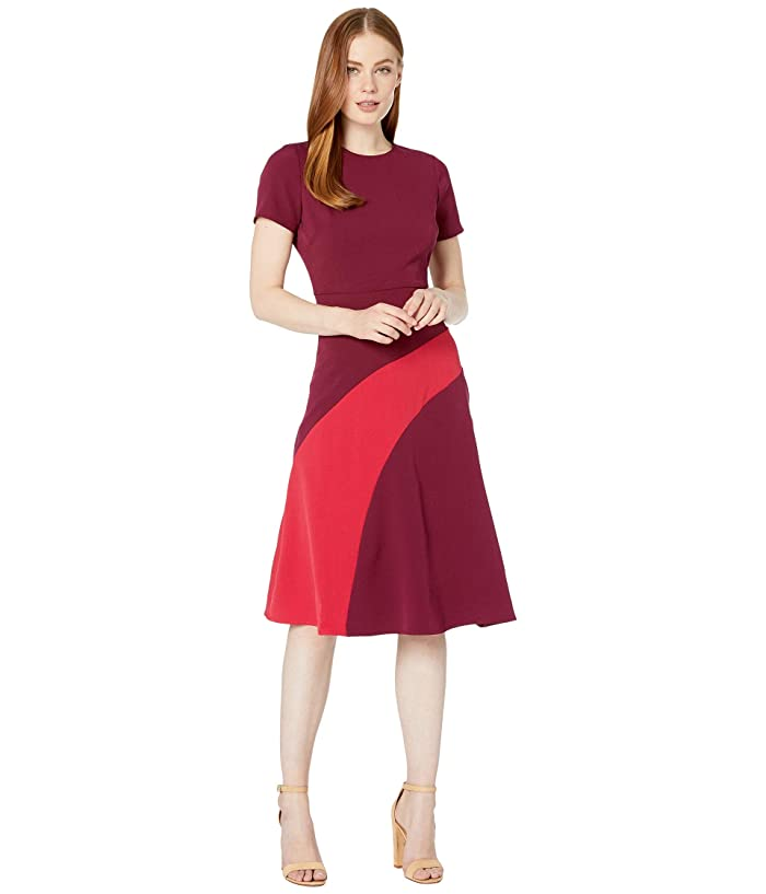 Maggy London  Mystic Crepe Color Block Fit and Flare Dress (Beet/Moncheri) Womens Dress