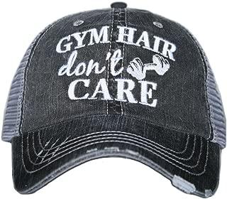 KATYDID Gym Hair Don't Care Women's Trucker Hats Caps Gray