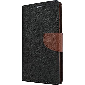 Avzax Luxury Diary Wallet Style Flip Cover Case with Magnetic Lock for Micromax Canvas Fire 5 Q386 (Black)