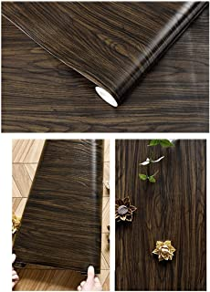 GLOW4U Self Adhesive Vinyl Ebony Wood Grain Contact Paper for Kitchen Cabinets Door Table Desk Shelves Furniture Crafts (15.7x117 Inches)