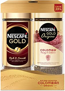 NESCAFÉ Gold Festive Pack (Nescafe Gold Instant Coffee 100g + Origins Cap Colombia Instant Coffee 100g)