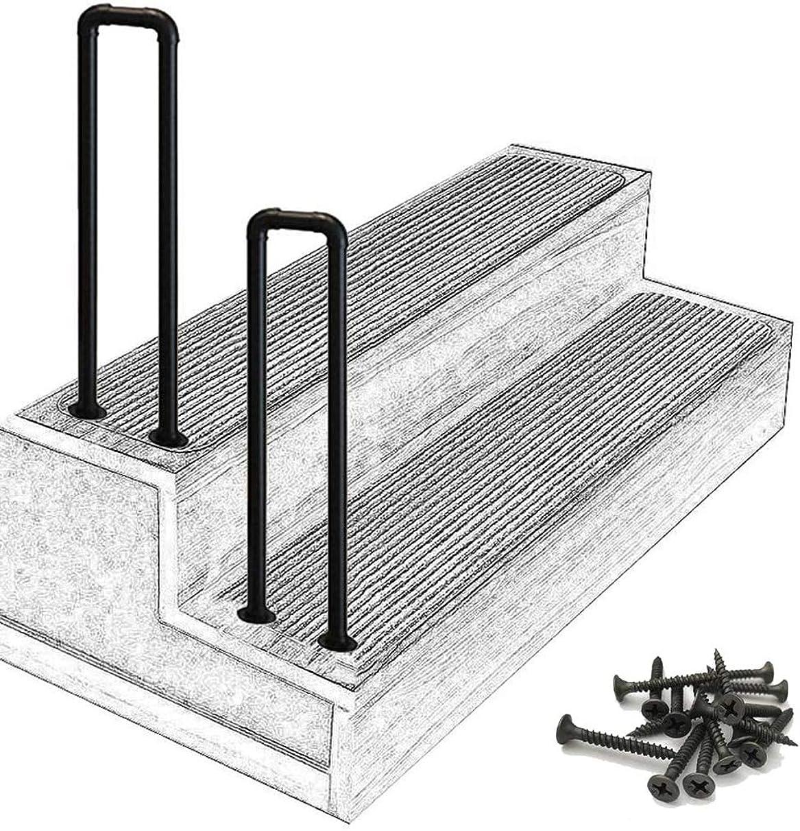 三角クライマックスヒロインHNNHL 屋外階段手すり、マットブラック階段レール錬鉄製手すり、屋外ステップ用取り付けキット手すり付き(Size:75cm(2.5ft))