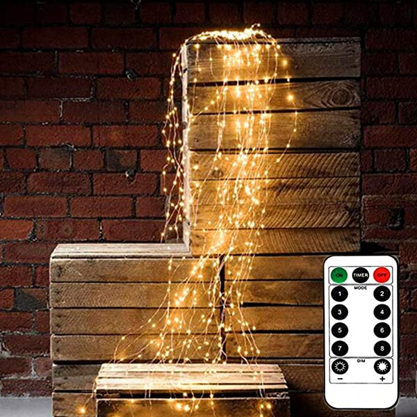 180 LEDs String Lights 8 Modes With 9 Strands Copper String Fairy Lights Battery Operated Waterproof String Lights For Outdoor Indoor Copper Wire Lights Holiday Party Decoration Remote Control