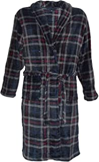 Espionage Mens Yarn Dyed Checked Microfleece Dressing Gown With Shawl Collar Details (095) in Size 2XL to 8XL