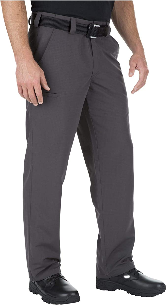 Image of a standing man in black shoe wearing the 5.11 FastTac pants in color charcoal.