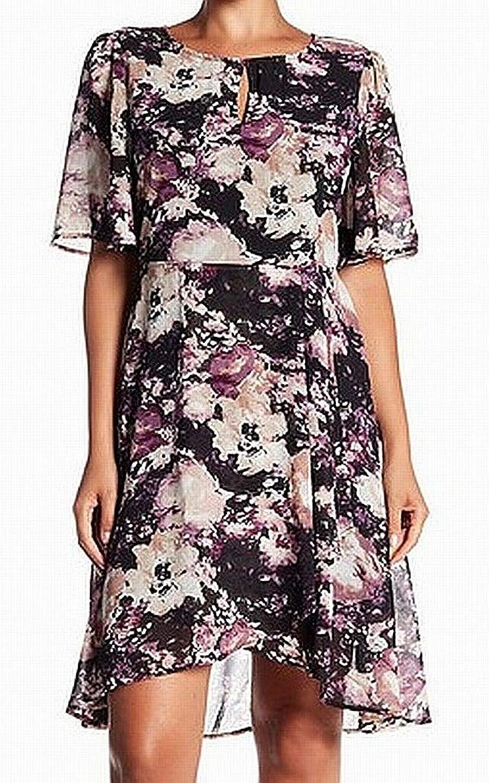 Bobeau Womens Floral Print Keyhole ALine Dress Black XL