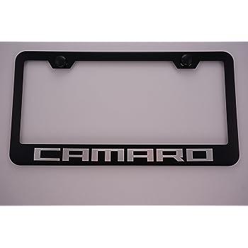Eurosport Daytona Stainless Steel Plate 2010 Camaro Black White RS License Plate Frame 3D Novelty