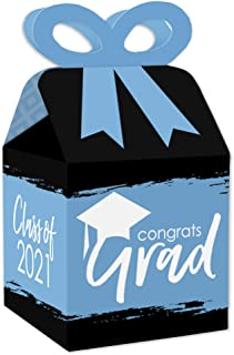 Big Dot of Happiness Light Blue Grad - Best is Yet to Come - Square Favor Gift Boxes - 2021 Light Blue Graduation Party Bo...