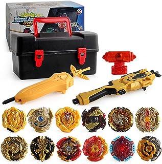 U-smile Burst Gyro Toy Set, Golden Gyroscope Set Battling Top Freely Assemble Burst Gyro Suit with Storage Toolbox 4D Launcher Burst Toy Children Classic Toys for Kid