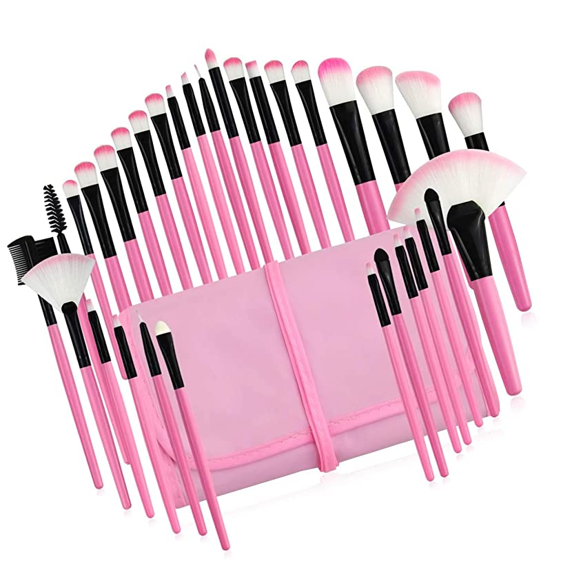 有力者科学的アンペアメイクブラシ 超柔らかい 高級繊維毛 日常の化粧 旅行便利 プレゼントに最適,ピンク,32本セット
