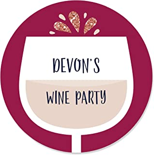 Personalized But First, Wine - Custom Wine Tasting Party Favor Circle Sticker Labels - Custom Text - 24 Count