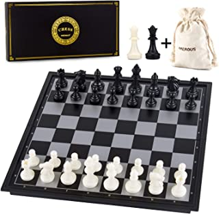 AMEROUS 10 Inches Magnetic Travel Chess Set with Folding Chess Board - 2 Extra Queens - Storage Bag for Pieces - Instructions for Beginner, Kids and Adults