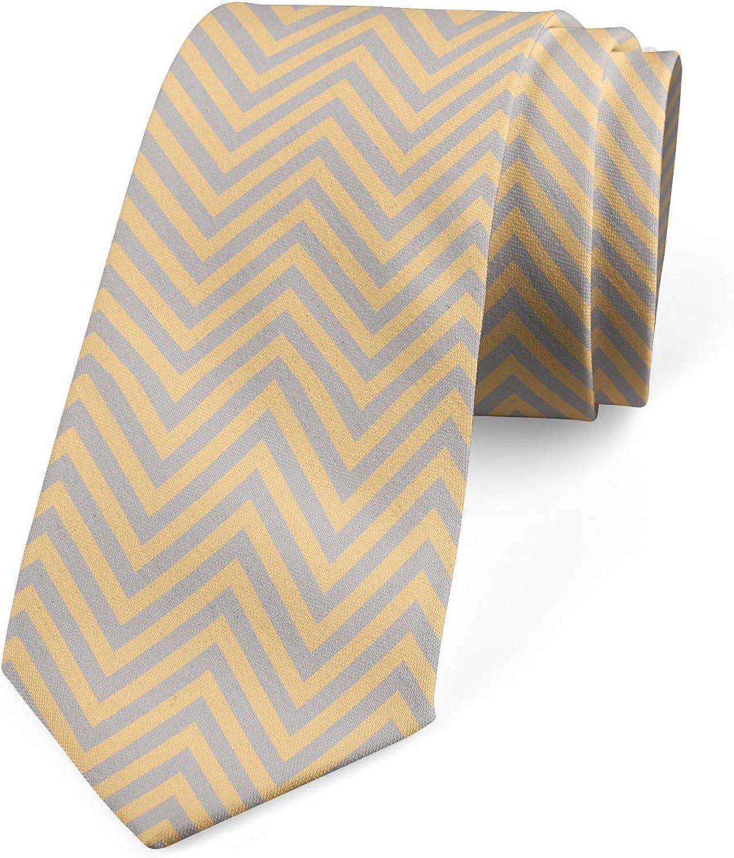 Ambesonne Necktie, Zig Zag Chevron Retro, Dress Tie, 3.7