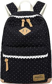 Mygreen Polka Dot Canvas School Backpack Bag, Cute Bookbag for Teen Girls Womens