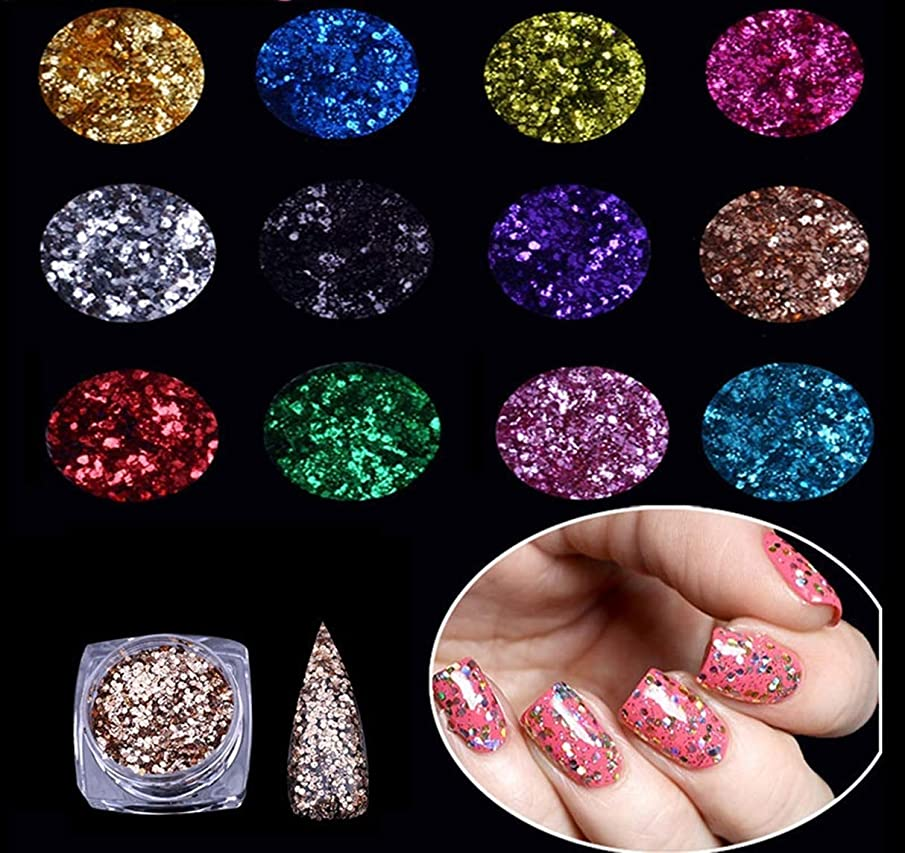 12 Pcs Embossed Hexagonal Sequins Nail Glitter Acrylic Tips Holographic Mirror Chrome Pigment Kit Deluxe Popular Fine Powder Dust UV Gel Polish Nails Art Makeup Tools