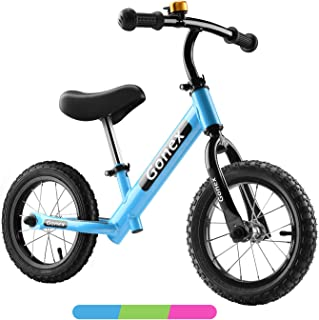 Gonex Kids Balance Bike 12 Inch for 2, 3, 4, 5 Years Old Boys Girls No Pedals Toddler Balance Bike Adjustable Push Bike with Hi-Ten Steel Frame & Inflatable Rubber Tires