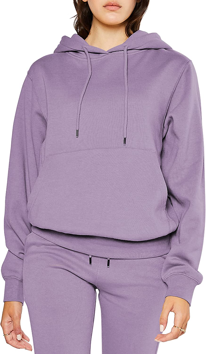 PAC Women's Comfortable Soft Fleece Boyfriend Fit Casual Lightweight Active Basic Pullover Hoodie With Kangaroo Pocket