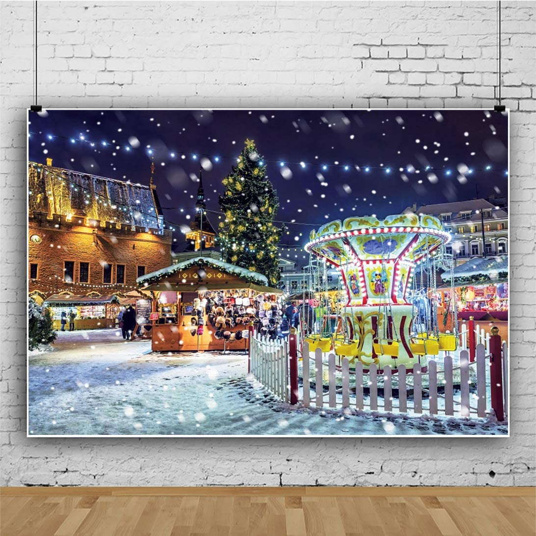 OERJU 12x10ft Amusement Park Backdrop Snow Ground Recreation Facility Background Merry Christmas Party Decorations Baby Shower Banners New Year Kids Birthday Prom Portrait Photo Studio Props