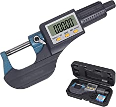 """Neoteck 0-1"""" Digital Micrometer, Inch/Millimeter LCD Digital Professional Thickness Measuring Tools Resolution 0.00005""""/0.001mm, Protective Case (with Extra Battery)"""
