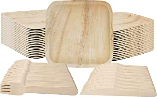 Palm Leaf Plates - Dinnerware Set of 75, Eco-Friendly plates - 25 Disposable 10