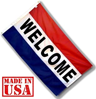 US Flag Factory - 3x5 FT Nylon WELCOME Flag (Sewn Stripes) Outdoor Message Flag - Commercial Grade Business WELCOME Flag - Made in USA - Premium Quality