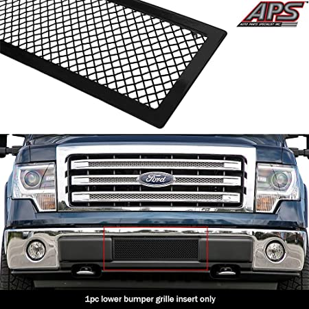 APS Compatible with 2009-2014 Ford F150 Black Billet Grille Grill Insert Upper+Lower F86614H