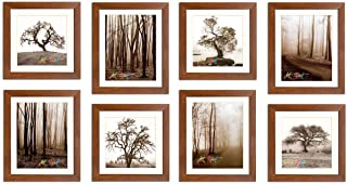Art Street Seesaw Synthetic Wood Individual Wall Photo Frame (Brown, 8x10 and 8x8) -Set of 8/4 Units