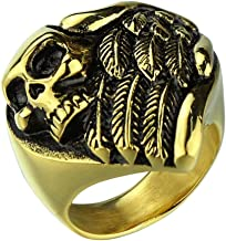 Mens Stainless Steel Skull Head Punk Vintage Style Rings Heart Shape, Silver and Gold
