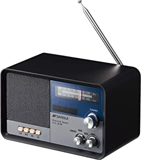 サンスイ Bluetoothスピーカー AM/FMラジオ付き ブラック