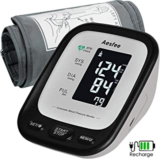 Arm Blood Pressure Monitor with Large Cuff, Accurate Automatic Upper Arm BP Machine for Home Use, Digital Blood Pressure & Heart Rate Pulse Meter USB Rechargeable with Backlit LCD Display